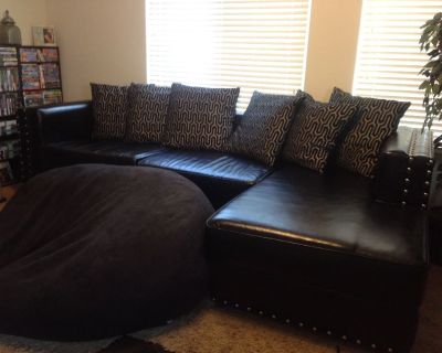 Custom Black Leather Couch