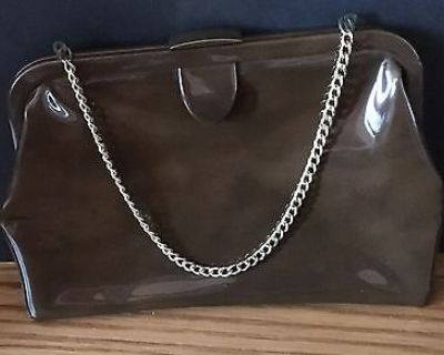 Vintage Ingber Brown Patent Leather / Vinyl Clutch Purse with Gold Tone Chain
