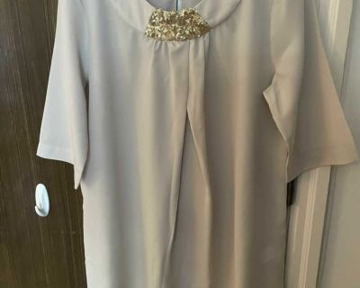 Vintage Simply Vera Vera Wang boho beige blouse with gold sequin, size M