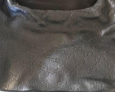 Authentic Gucci Black Monogram Canvas Leather Shoulder bag