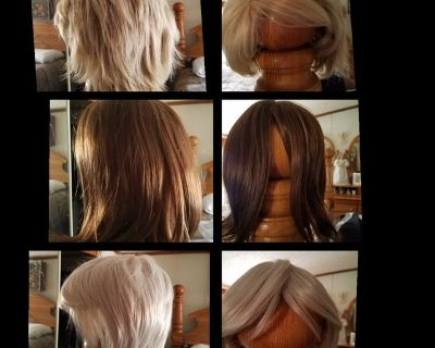 3 Brand new wigs with hair nets & covers