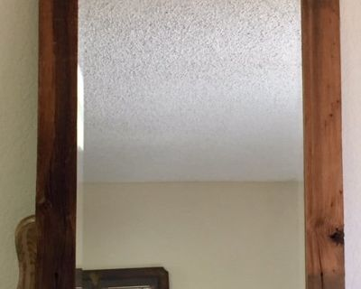 VINTAGE BEVELED GLASS MIRROR WITH NEW RUSTIC CUSTOM MADE FRAME, FineArtsMora, Local Joshua Tree ...