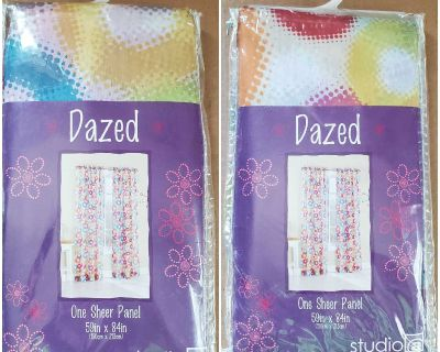 2 Studio-a colorful sheer curtain panels - Dazed fruit punch