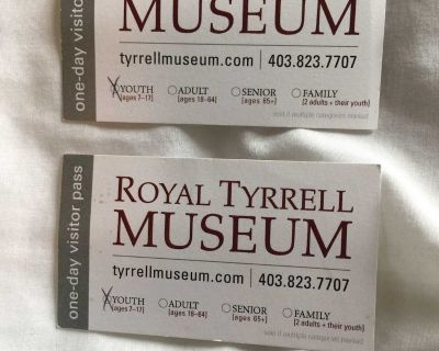 Royal Tyrrell Museum YOUTH pass x 2