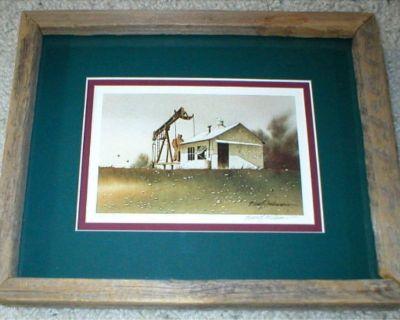 Oil Drilling Vtg Art Print - Signed & Numbered - Rustic Wood Frame