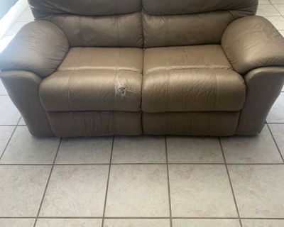 Two Seat Leather Recliner Couch