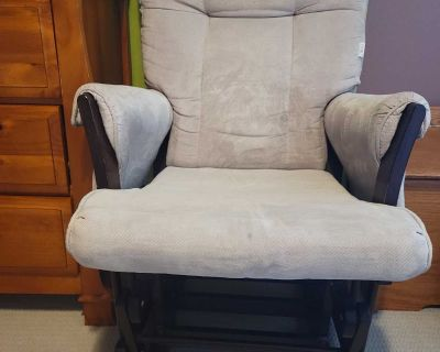 Fabric rocking chair with foot stool for baby