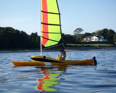 15' Ocean Kayak with upwind professional expedition sailing rig
