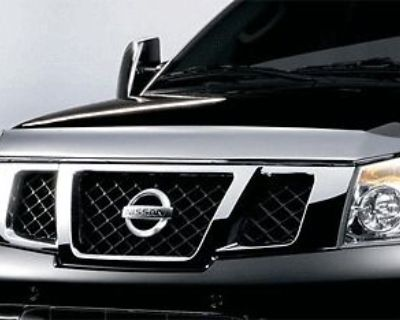 2008-2011 Nissan Armada Titan Chrome Hood Bug Shield Deflector Protector Oem New