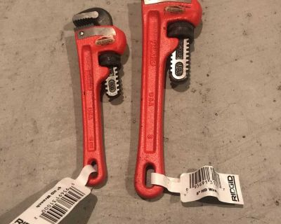 6 and 8 inch ridgid straight pipe wrenches