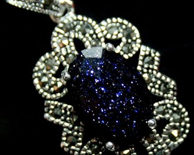 New - Navy Blue Sandstone Marcasite 925 Sterling Silver Pendant (Includes a chain)