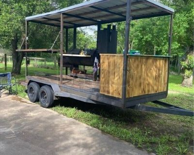 Ready to Grill Open BBQ Smoker Trailer / Used Mobile BBQ Pit
