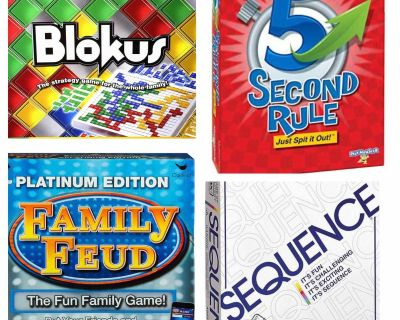Looking for these board games .Blokus, 5 second rule, family feud, sequence