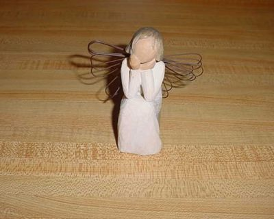 Willow Tree Angel Of Caring-Always There, Listening With A Willing Ear And An Open Heart. Hand-Painted Resin Figure. A 4 Tall Angel In...