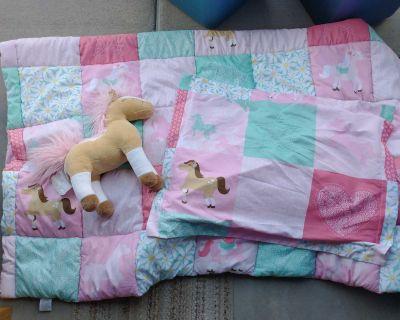 Twin comforter, pillow sham and stuffed animal