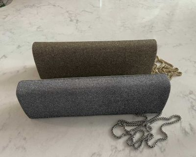 Set of 2: Gold and Silver Clutch with Chain