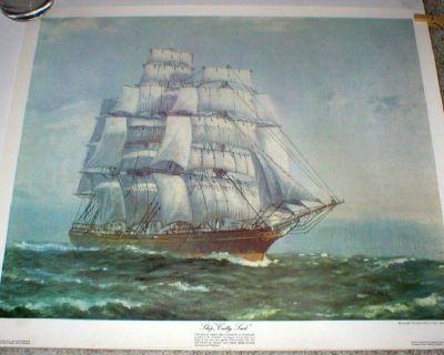 "Ship ""Cutty Sark"" Art Print by John Allcot - Printed in Australia 1972"