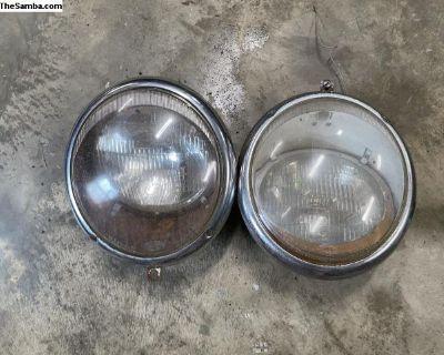 Vintage Hella German 1960s Beetle Headlights Set