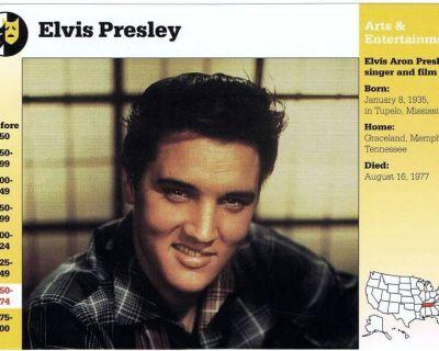 Entertainment Misc. Info. Cards - Elvis Presley, Jack Benny, etc