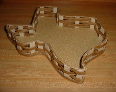 Barely Used Vintage Vine Tique Texas Shaped Wood Woven Tray Basket. Made Of A Cork Base With Wood Woven Sides In The Shape Of Texas...