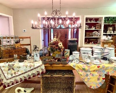 Spectacular Overton Pottery Barn & Primitives Estate Sale Quilts Trains TCU Jewelry Patio Christmas