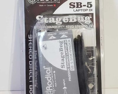 Radial StageBug SB5 Passive Laptop Direct Box 1 Channel Stereo Audio Device. Condition is New