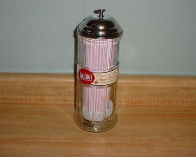 New Tablecraft Old Fashioned Soda Glass Fountain Straw Dispenser With Straws. Restaurant Classics For The Home! Features A Stainless...