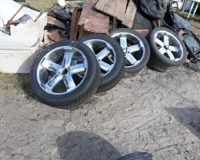 "4 american racing 22""rims w 2 brand new tires"