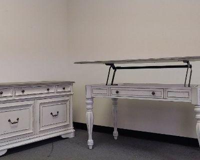Renaissance White antique desk credenza