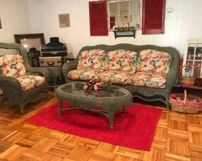 Munster Moving Sale Vintage Patio Furniture Glassware Herschede 9 tube Grandfather Clock Dining Set