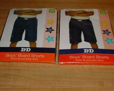 New 2 Pair Of Boy's L & D Branded Navy Blue Board Swim Trunk Shorts Size Medium 8-10. These Shorts Have An Adjustable Waistband, Built-In...