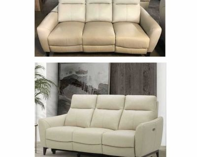Crosslin Leather Power Reclining Sofa with Power Headrests (Assembled )