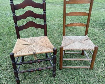 2 ladder back chairs seats have imperfections both for $15
