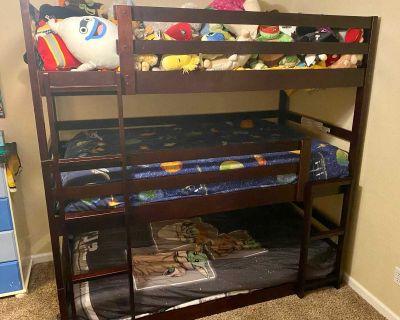 Espresso twin triple bunk bed