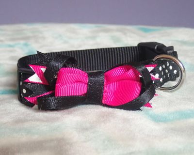 Brand New! Super Adorable Black with Pink Bow and White Polkadots Small Dog Collar