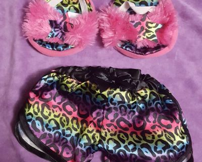 Build A Bear Leopard Pajama Shorts and Slippers