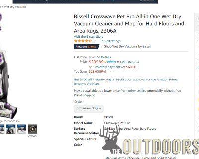 FS/FT New Bissell CrossWave Pet Pro Vacuum