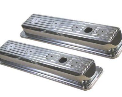 Chrome Steel Stock Style Center Bolt Valve Covers 305 350 5.0 5.7 V-8 C-1500