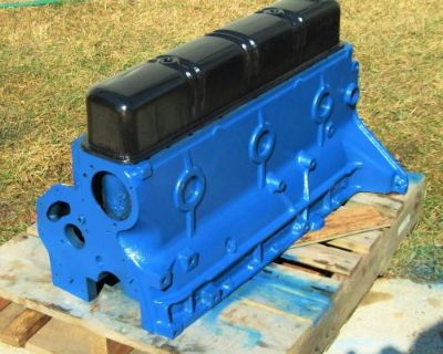 56 Ford 223 6 Cyl Ebp 6015 F Bare Block W/ Caps Black Valve Cover Not Included