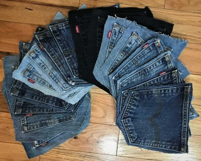8 Pair, 16 Individual Levis Jean Pockets. Repurpose Sewing Crafts/Projects.