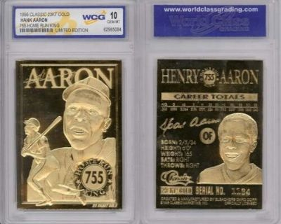 *~* 1996 HANK AARON * 755 Home Run King * 23K GOLD CARD - GEM-MINT 10 *~*