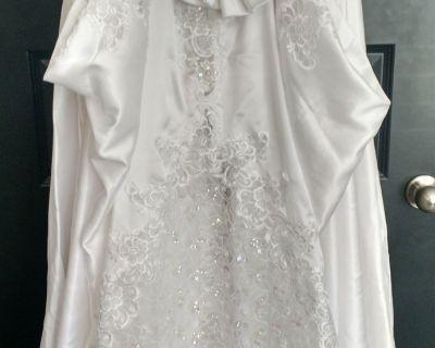 Satin White Wedding Dress and Beaded Veil