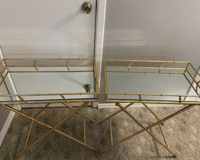 Gold Bamboo Style Side Tables