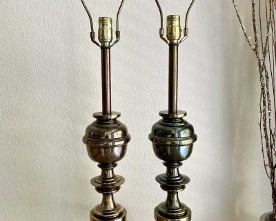 Late Mid-Century Stiffel Solid Brass Table Lamps Sold as a Pair
