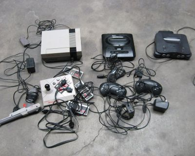 vintage video consoles and 56 games