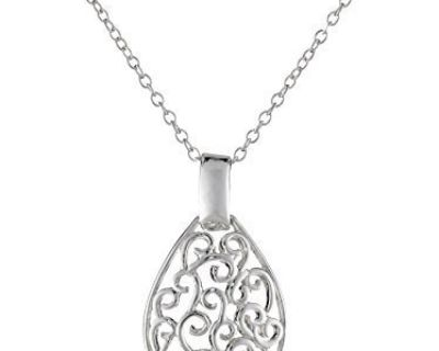 CLEARANCE ***BRAND NEW***Sterling Silver Filigree Teardrop Necklace***