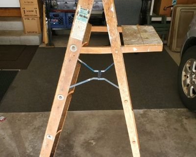 """Vintage Wooden Step Ladder Sears USA Measures 56"""" to Top when Opened!!"""