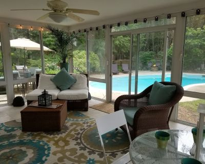 Gourmet kitchen, hardwood floors, 4 Seasons room with heat and AC overlooking private fenced backyard with beautiful pool, gas fire pit, gas grill, patio area - Parole