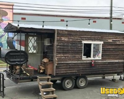 Log Cabin 8.5' x 19' BBQ Concession Trailer with Porch / Used Barbecue Pit