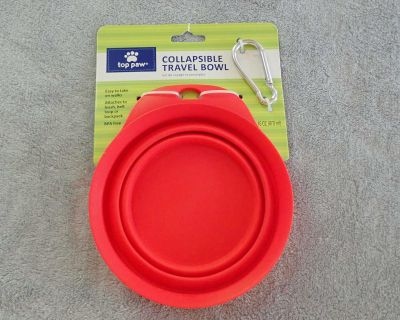 Brand New with Tag! Red BPA-Free Collapsible Travel Food and Water 16 oz Bowl with Clip to attach to leash, belt, loop or backpack!